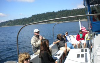 Tour guide on a tour boat.